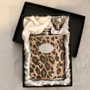 NWB / Iridescent Leopard Flask